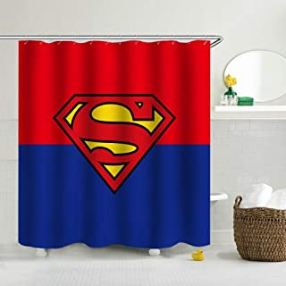 GoHeBe Superman Background Pattern Shower Curtain 3D Printing Waterproof Coated Polyester Fabric Bathroom with 12 Hooks 71 inches