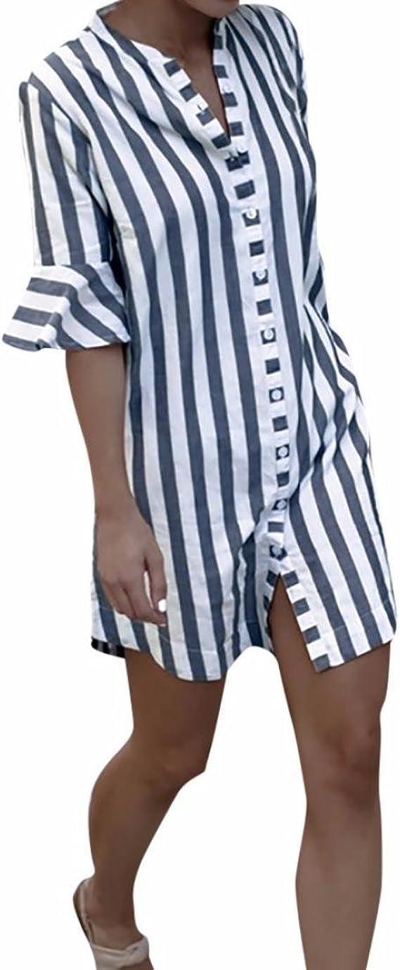 Mujer Blusa Larga Camisa Manga de Cuerno a Rayas Tops: Amazon ...