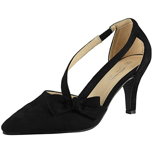 69487dae465d Loud Look Womens Ladies Faux Suede Elastic Strap New Mid Heel Office Work  Party Shoes Size