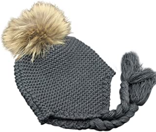 Childrens Unisex Outdoor Warm Stylish Winter Beanie Hat with Detacahable Pom Pom - Made with Real Fur