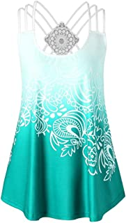 UNIQLO Summer Women Vest Casual Cross Sleeveless Lace Tank Tops Strappy Floral Printed