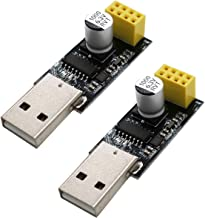 Sunhokey 2pcs CH340 USB to ESP8266 ESP-01 WiFi Module Adapter Computer Phone Wireless Communication Microcontroller for Arduino