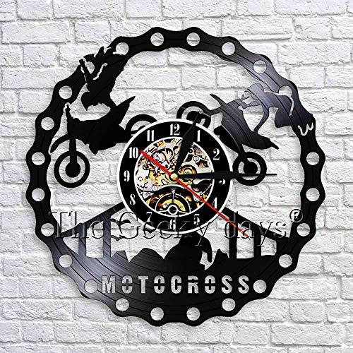 fdgdfgd Reloj de Pared Multicolor 3D Carreras de Motocross Deportes Extremos Reloj de Pared diseño Moderno Reloj de Vinilo Colgante Negro Regalo   Grabar decoración de Luces de Halloween
