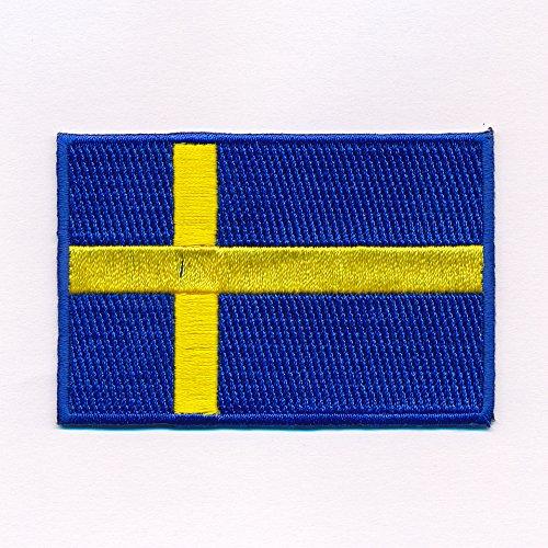 60 x 35 mm Schweden Flagge Sweden Flag Stockholm Patch Aufnäher Aufbügler 0641 B