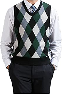 Fange Men's Argyle V-Neck Sweater Vest Woolen Color Block Knit Business Casual