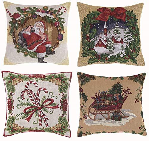 Blanc Mariclo Cuscino Decorativo Natalizio 40 x 40 Shabby Chic Vintage Natale