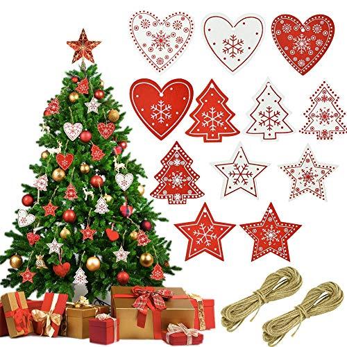 LYTIVAGEN 122 Pezzi Natale Ornamento di Legno 12 Stili Natale Addobbi per Albero Riutilizzabile 120 Ciondolo in Legno con 2 Corda di Canapa di 10M per Albero di Natale Segnalibro di Natale