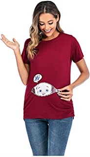 SNOWSONG Maternity T-Shirt Women Pregnants Tops Folding Nursing Baby Breastfeeding T-Shirt Tops