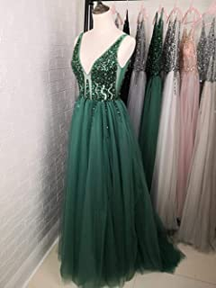 LSY&JJ Beading Prom Dresses Long 2019 V Neck Light Gray High Split Sweep Train Sleeveless Evening Gown A-Line Backless V-Neck Sleeveless Prom Off Shoulder Deep V Dress