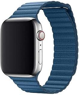 Apple Watch Kordon 42 mm / 44 mm Seri 1 2 3 4 5 Deri Loop (Mavi)