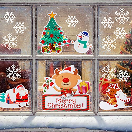 infinitoo 180 Fensterbilder Weihnachten Schneeflocken, 6 Blatt Fensterdeko Winter Dekoration, Statisch Haftende PVC Aufkleber, Wiederverwendbar Abnehmbare Fenster Dekoration für Türen, Schaufenster