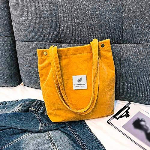 Frauentasche Damen Umhängetasche Große Kapazität Cord Einkaufstasche Damen Pure Handtasche Faltbare Wiederverwendbare Einkaufsreise Strandtasche Gelb