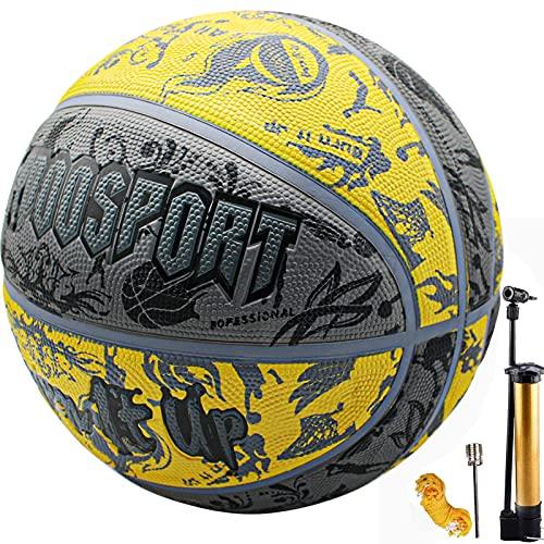 Senston Palla da Basket Taglia 7 con Pompa, Adulti Bambini Pallone Basket Uso Esterno Interno