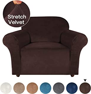 Turquoize Ultra Soft Plush Chair Cover Brown Sofa Slipcover for Pets 1 Piece Stretch Furniture Protectors for Sofa, Velvet Spandex Chair Slipcover Washable for Living Room Couch Cover (Chair, Brown)
