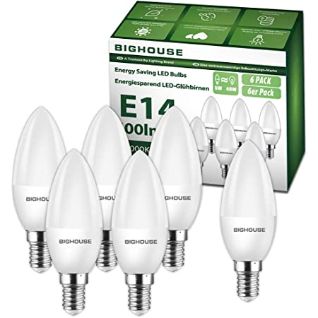 E14 Led Candle Bulbs, 40W Incandescent Bulb Equivalent, 5W, 400lm, 3000K Warm White, C37 SES Small Edison Screw Led Bulbs (Pack of 6)