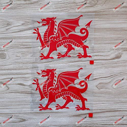 2X Red 6'' Wales Red Dragon Decal Sticker Welsh Y Ddraig Goch Car Vinyl Die-Cut no Background