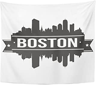 Emvency Tapestry Massachusetts Boston Skyline Silhouette America Architecture Beautiful Big Black Home Decor Wall Hanging for Living Room Bedroom Dorm 50x60 inches