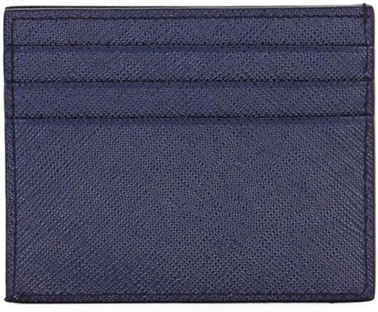 Prada Saffiano Mens Credit Card Wallet Baltico Blue Embossed Logo 2MC223