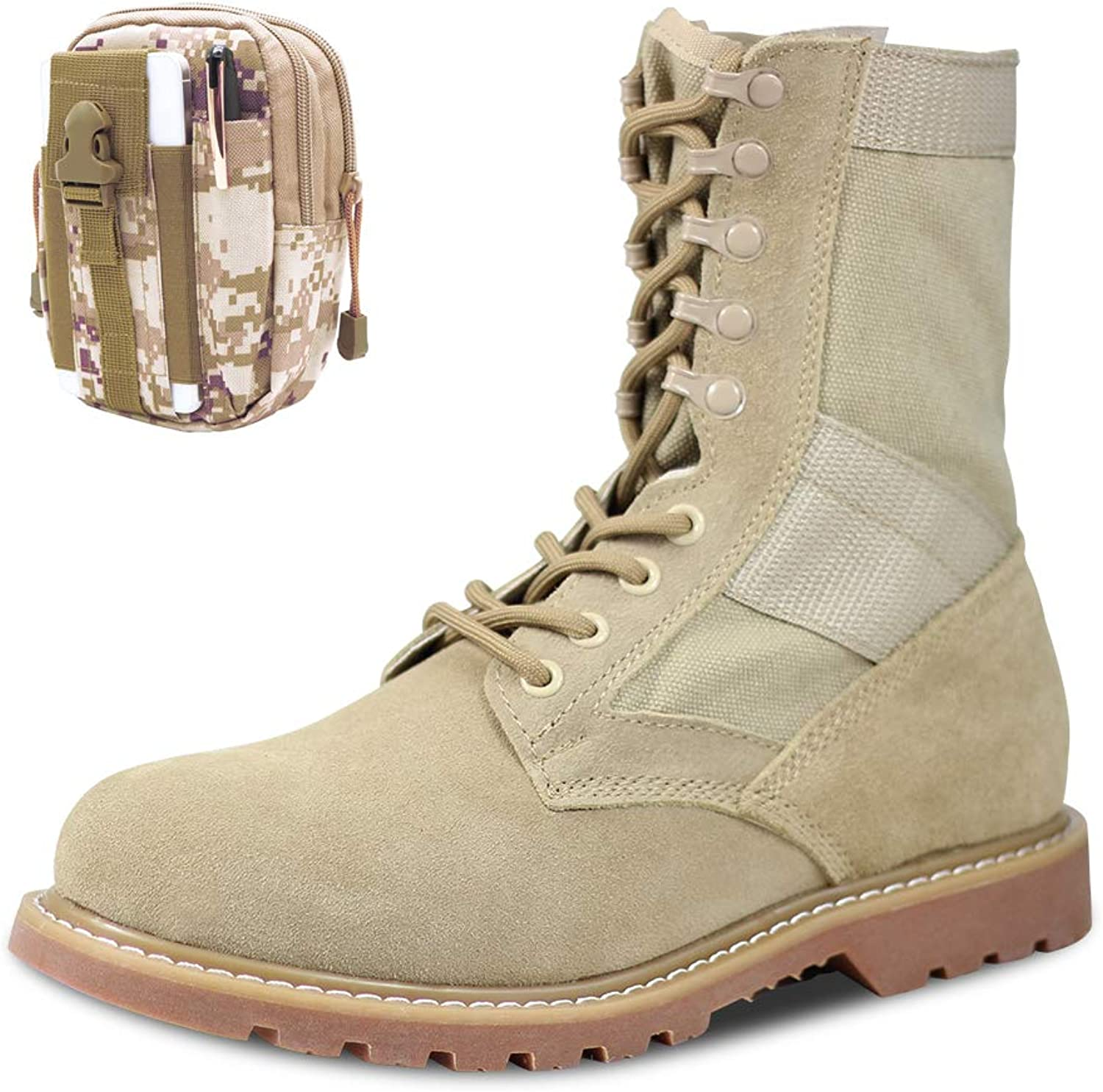 PANY Men's Military Boots Combat Boots Tactical Boots Ultralight Desert Tan Boots with Military Waist Bag