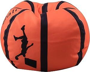 Kindersitzsack Kinder Sessel Stofftier Aufbewahrungtasche Großes Fassungsvermögen 26'' Spielzeugaufbewahrung für Kinder Stofftier Plüschtiere Decke (Basketball Design)