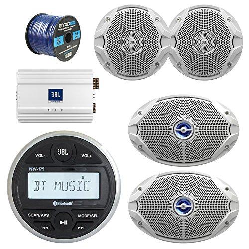 JBL Gauge Style Marine Digital Media Bluetooth Receiver, JBL 4-Channel Full-Range Marine Amplifier, 2X JBL 6x9 2-Way White Coaxial Speakers + 2X JBL 6.5' Speakers + Enrock 50 Foot 16g Speaker Wire