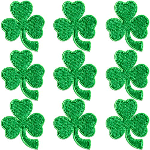 PAGOW 9PCS Shamrock Embroidered Patches, Tiny Mini Green Shamrocks Applique Embroidered Patch, Iron-On Sew On Patches for Backpacks Clothing Arts Crafts (Three Leaf) Size: 5.13cm x 6.09cm (W x H)