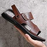 BDBD Sandalia Delicada,Zapatos de Playa Antideslizantes de Cuero de látex con Fondo Suave, Tendencia Casual, Zapatillas frías-Brown_40,Sandalias Wave