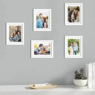 Art Street Set of 5 White Wall Photo Frame, Picture Frame for Home Decor with Free Hanging Accessories (Size -8x10 Inchs)
