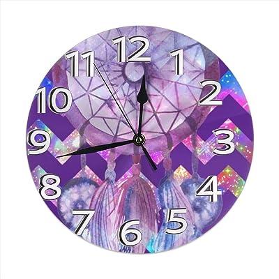 12 Kess InHouse Strawberringo Feathers Blue Gray Wall Clock