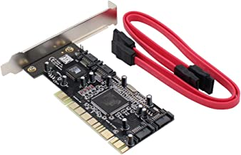 XtremeAmazing 4 Ports PCI SATA Raid Controller Internal Expansion Card Adapter, PCI to SATA Adapter Converter with 2 Sata Cables for Desktop PC HDD SSD