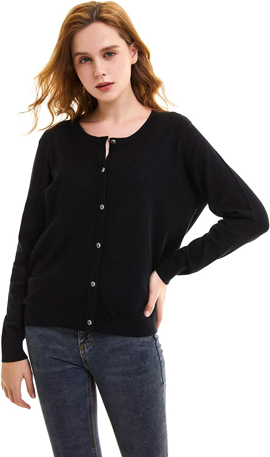 NOVAOFROVER Women's Cardigan Sweater Button Down Crew Neck Long Sleeve Lightweight Soft Classic Fit Knit