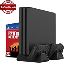 RegeMoudal Vertical Bracket with Cooling Fan for PS4 / PS4 Slim / PS4 Pro, PS4 Series Vertical Bracket with Cooling Fan and Dual Controller Charging Station for PS4/PS4 Slim/PS4 Pro with 3 Built-in C