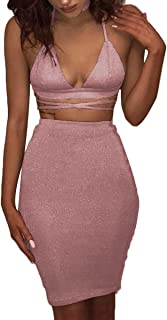 ioiom Women`s Glitter V Neck Halter Backless Sleeveless Bandage Bodycon Midi Dress
