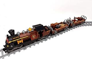 Brigamo Briques de construction ferroviaire Western Train avec 2 wagons et rails