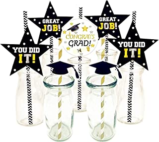SAKOLLA Class of 2019 Graduation Party Paper Straw Decoration - Graduation Cap Straws Paper for Graduation Party Favors - Set of 42