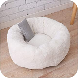 Long Plush Pet Bed Mat Faux Fur Round Cushion Bed for Small Dogs and Cats Kennel Washable Cozy Comfy Winter Warm Pet Beds Nest