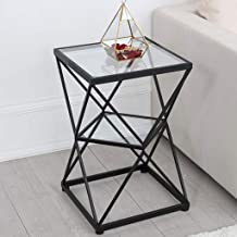 Sofa Side Table End Tables Wrought Iron 2 Tier Gold Coffee Side Table, Living Room Couch Table, Bedside Square Small Corne...