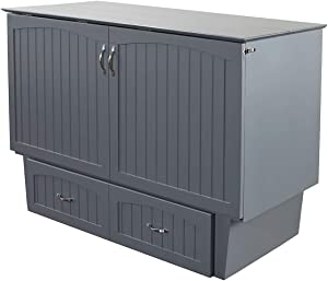 Atlantic Furniture Nantucket Murphy Bed Chest with Charging Station & Mattress, Queen, Grey