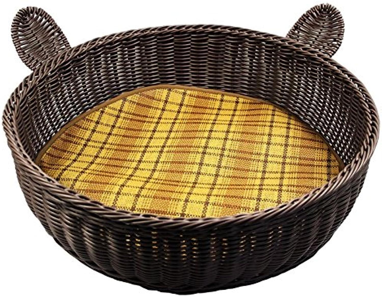 Pet House Rattan Cat Litter Spring Summer Small Kenkel Wasable Rattan Round Cushions Blanket Pet Supplies Cool Mat Black