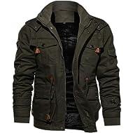 Men Jacket Winter,Male Cashmere Thickened Cotton Warm Coat Pocket Outwear Plus Size