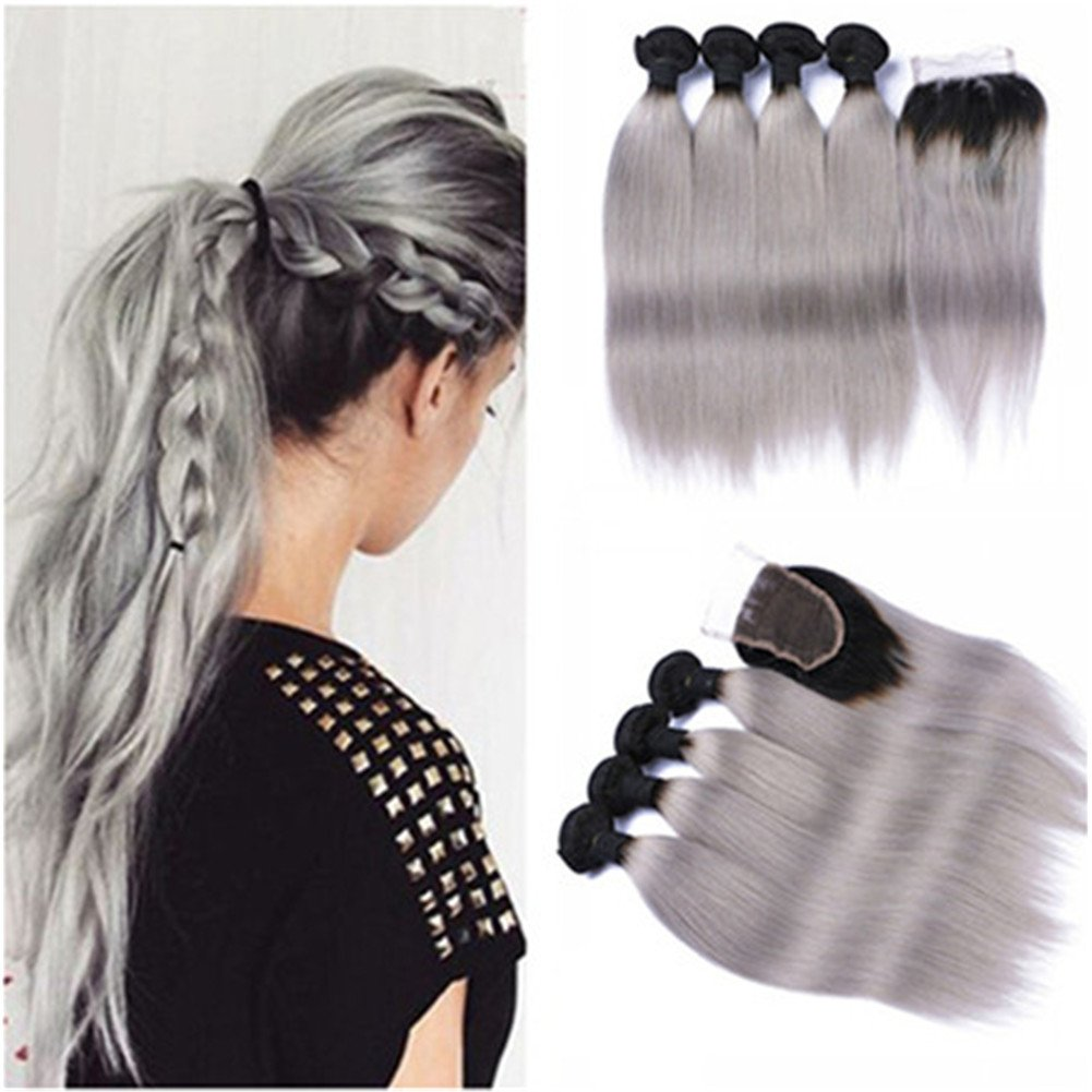 Tony Beauty Dedication Max 81% OFF Hair Dark Rooted Silver Gray Brazilian Human Ombre H