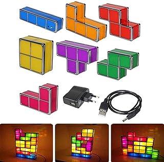 leegoal Tetris luz de Noche, Bricolaje Tetris Noche luz 7 Colores apilables Puzzles 7 Piezas LED inducción interbloqueo lámpara 3D Juguetes Regalo Ideal para Decoraciones caseras
