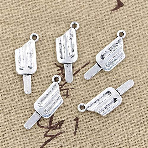 WANM 6Pcs Charms EIS EIS Am Stiel 25X9Mm Antike Herstellung Anhänger Fit Vintage Tibetan Silber Farbe DIY Handmade Schmuck Legierung Anhänger