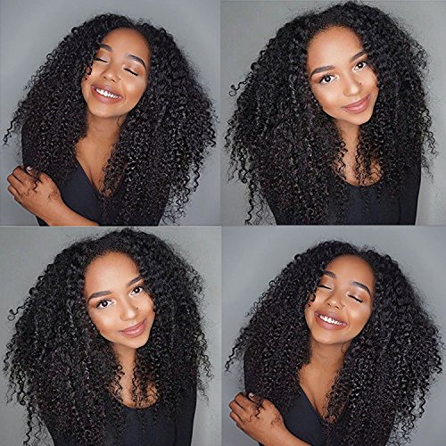 """Fyonas Afro Kinky Curly Wave Wig Brazilian Virgin Remy Human Hair Wigs with Baby Hair Pre Plucked Hairline Glueless Lace Front Wigs for Black Women (130% Density,Lace Front Wig,16"""" Natural Color)"""