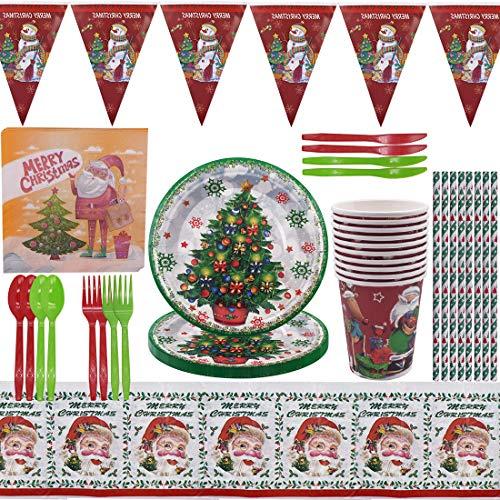 ZSWQ Christmas Stoviglie per Feste Natalizie Set di Stoviglie, 97Pcs Perfetti per Le Feste di Natalizie Includere Tazza Tovaglioli Piatti Tovaglia Coltelli, Striscioni, Tovaglie, ECC(10 Ospiti)
