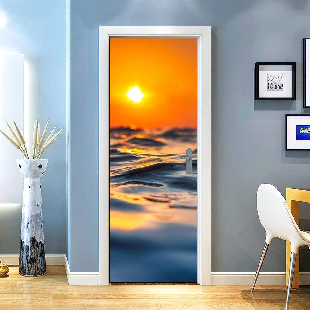 KEXIU 3D Microondas de superficie marina PVC fotografía adhesivo vinilo puerta pegatina cocina baño decoración mural 77x200cm