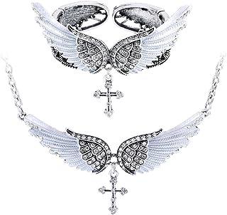 """Szxc Jewelry Women's Crystal Guardian Angel Wings Cross Choker Pendant Necklaces 18""""+2"""""""