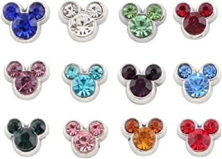 12 PC Mickey Mouse Rhinestone Mouse Ears Floating Charm Zodiac Colors for Origami Owl Living Lockets -