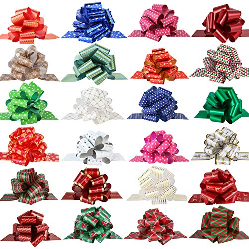 "PintreeLand 24PCS Christmas Wrap Pull Bows with Ribbon 5"" Wide Wrapping Accessory for Xmas Present, Gift, Florist, Bouquet, Basket, Xmas Tree Decoration (24 PCS)"