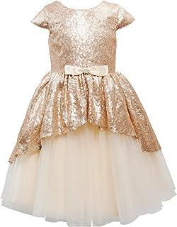 Miama フラワーガールドレス 子供ウェディングブライズメイドドレス 結婚式 入園式 演奏会 シャンペン色
